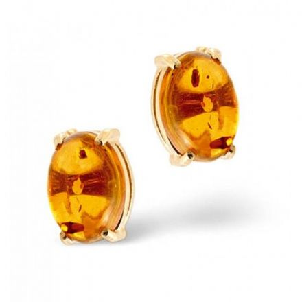 18K Gold 5mm x 7mm Amber Earrings, DCE02-A
